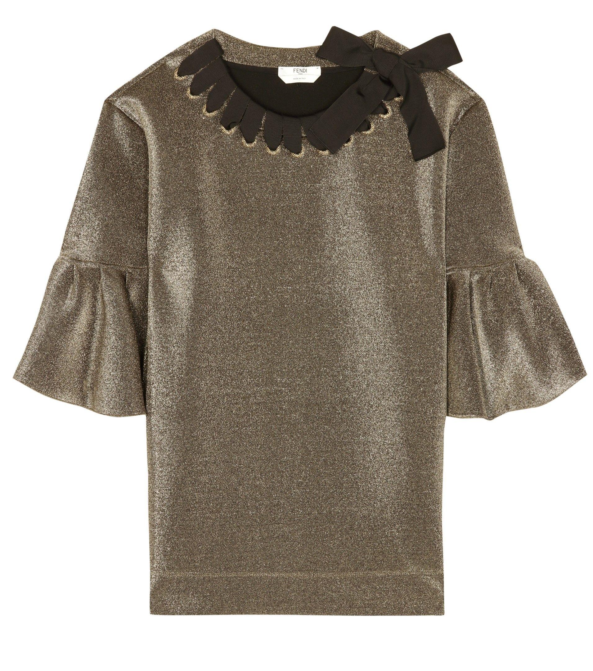 7f06feb8468f Fendi - Metallic ribbon-woven top