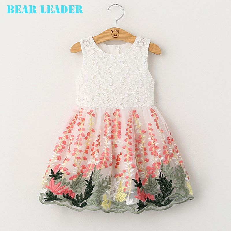 Dd Bear Leader Children S Summer Applique Dress Baby Girl Princess Dresses Girl Princess Dress Kids Dress