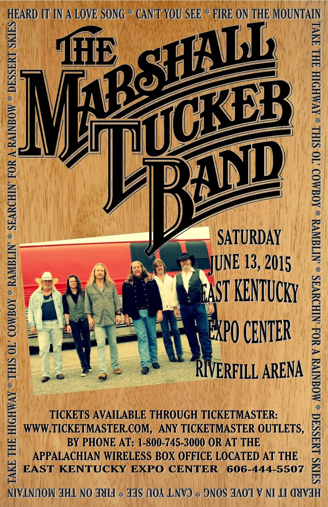 The Marshall Tucker Band, June 13 at the Riverfill Arena (Event may be moved inside the East Kentucky Expo Center if weather is bad.)  Tickets are on-sale now.