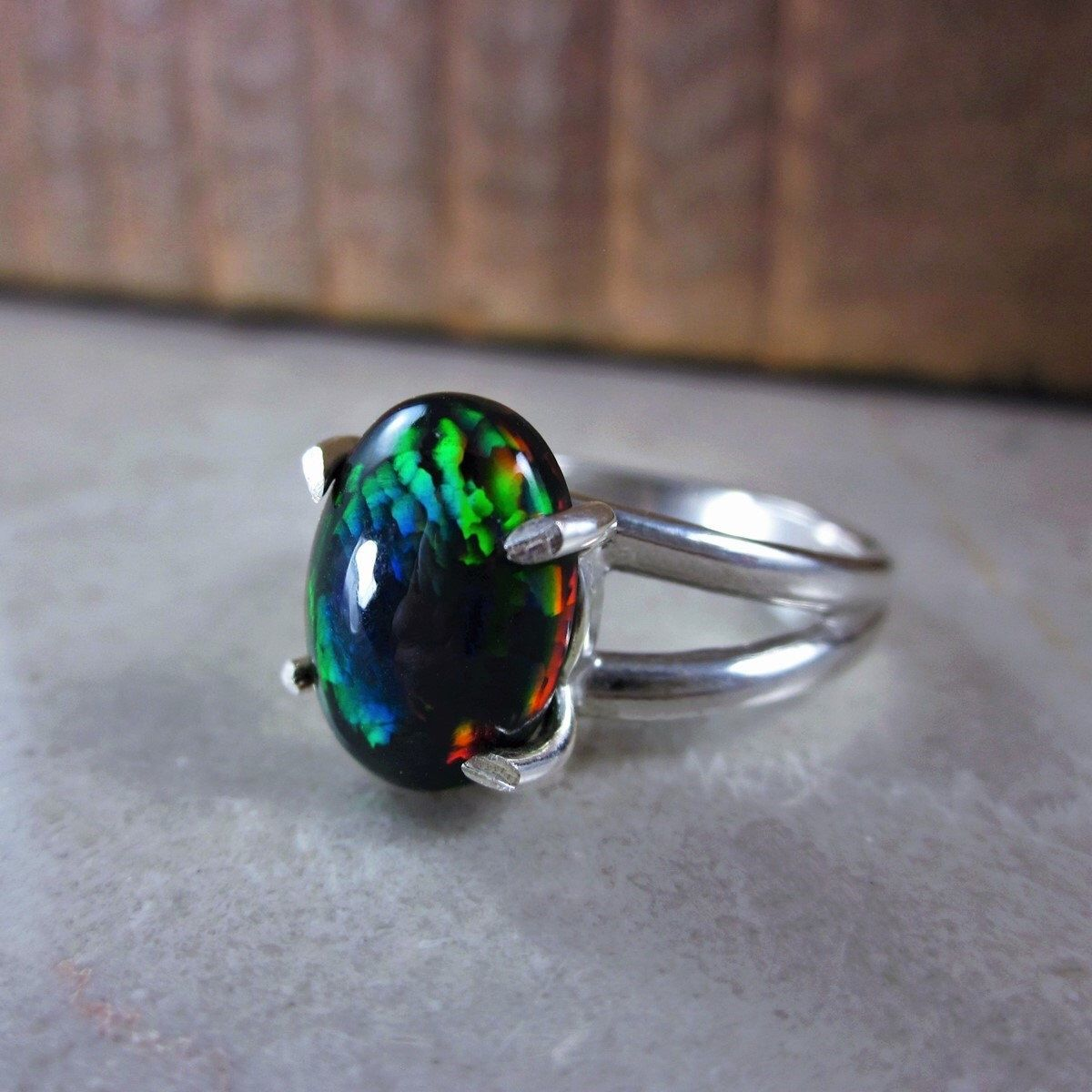 Black Opal Ring, Opal Promise Ring, Genuine Opal Ring, Opal Anniversary Ring,  Opal Solitaire Ring, Opal Wedding Ring, Snakeskin Pattern Opal