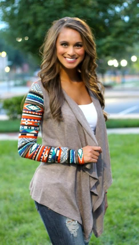 The Pink Lily Boutique - Aztec Sleeve Cardigan- Mocha, $40.00 (http://www.thepinklilyboutique.com/aztec-sleeve-cardigan-mocha/)