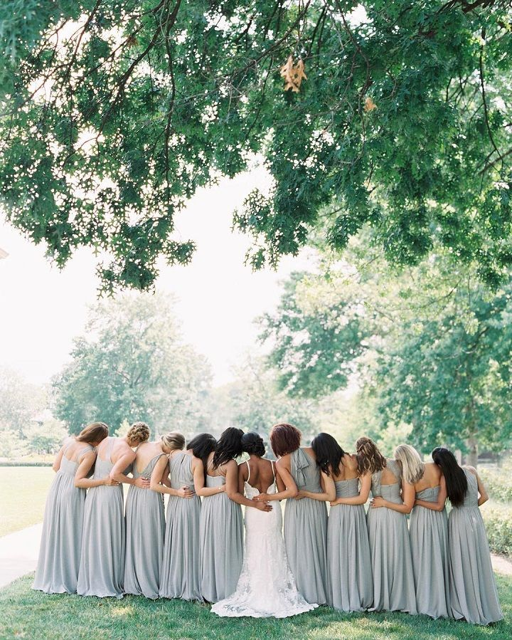 Mix matched Grey bridesmaid dresses #bridesmaids #summerwedding #grey