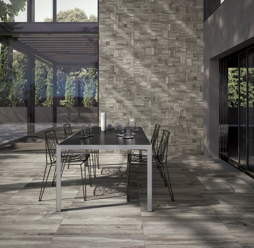 Contemporary Of Wood Look Tiles House Designs : Light Grey Wooden