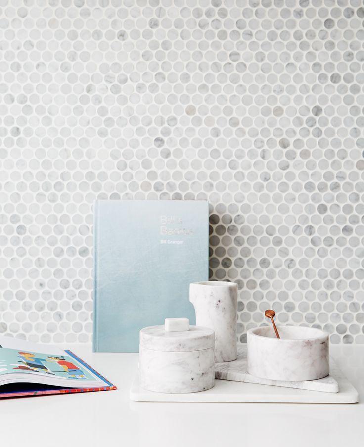 Kitchen Marble Penny Round Mosaic Tile Splashback Small Circular Storage Bo