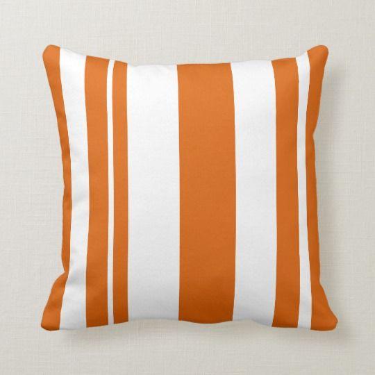 White and Orange Striped throw pillow | Zazzle.com
