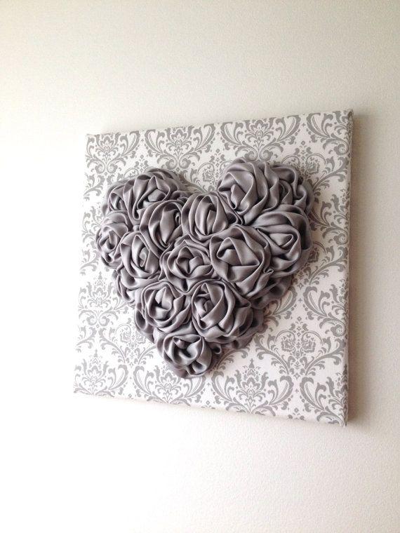Satin Rosette Heart Wall Hanging 12x12 Canvas Silvery Grey Heart Grey Damask Fabric Wall Art Nursery Decor Heart Wall Art Heart Nursery Heart Wall