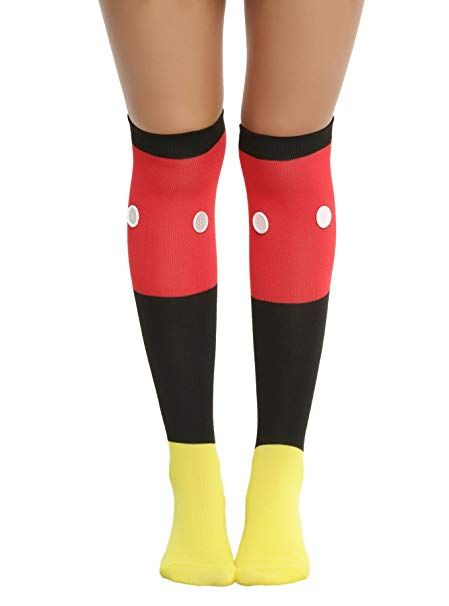 21dac0a9768 Disney Mickey Mouse 1 Pair of 3D Button Knee Sock Ladies and Juniors ...