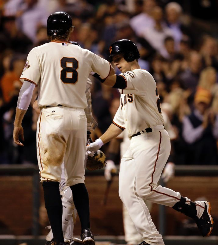 San Francisco Giants' Buster Posey, right, celebrates with Hunter Pence (8) after Posey hit a two-run home run off Colorado Rockies' Jorge De La Rosa in the sixth inning of a baseball game Tuesday, Aug. 26, 2014, in San Francisco. (AP Photo/Ben Margot)