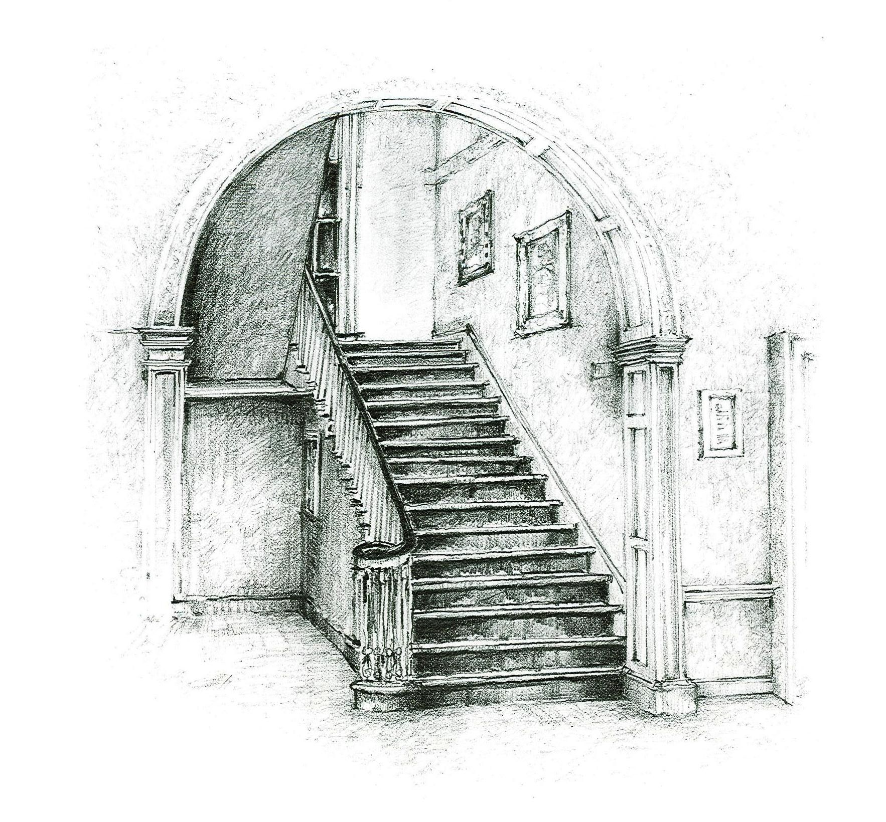 Local artist desmond mccarthys line drawing of merville houses beautiful stairway