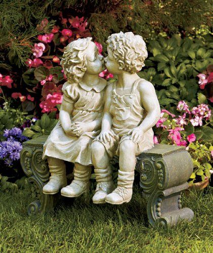Kissing Boy Girl On Bench Detailed Garden Ceramic Garden Yard Statue Art 15 X 12