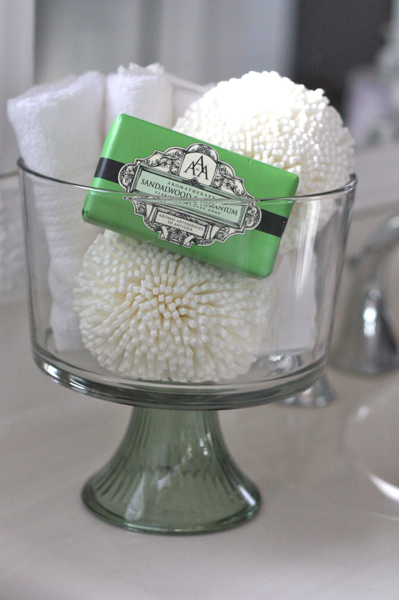 Trifle Bowl Filled With Guest Soaps Washcloths Loofahs Lotions Etc Perfect For A Guest