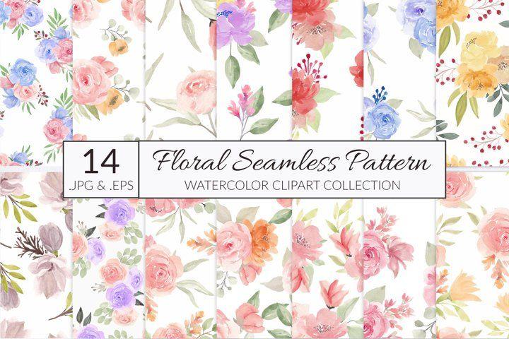 14 watercolor flower seamless pattern #watercolor #flower #floral #seamlesspattern #repeatpattern #watercolorpattern #floralpattern #flowerpattern #leaf #fabric