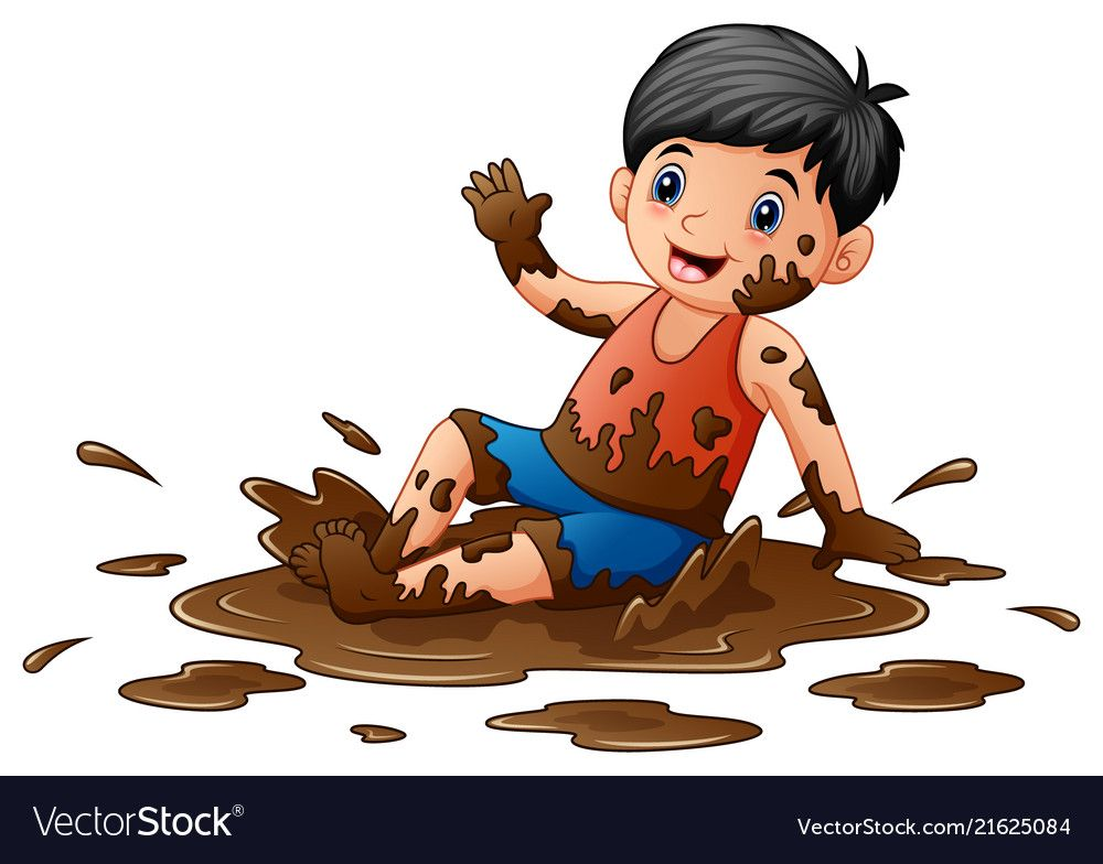 Little boy playing in the mud vector image on boys