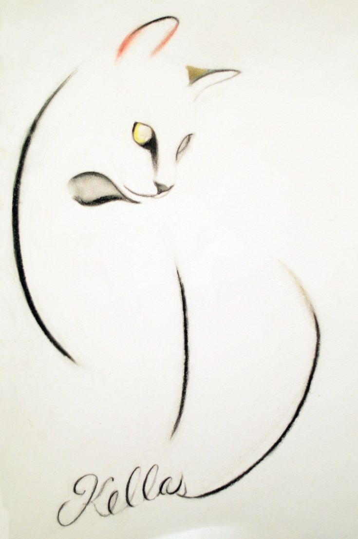 Artfinder a cat of three lines by kellas campbell i used carbon pencil charcoal pencil and - Dessin de chinoise ...