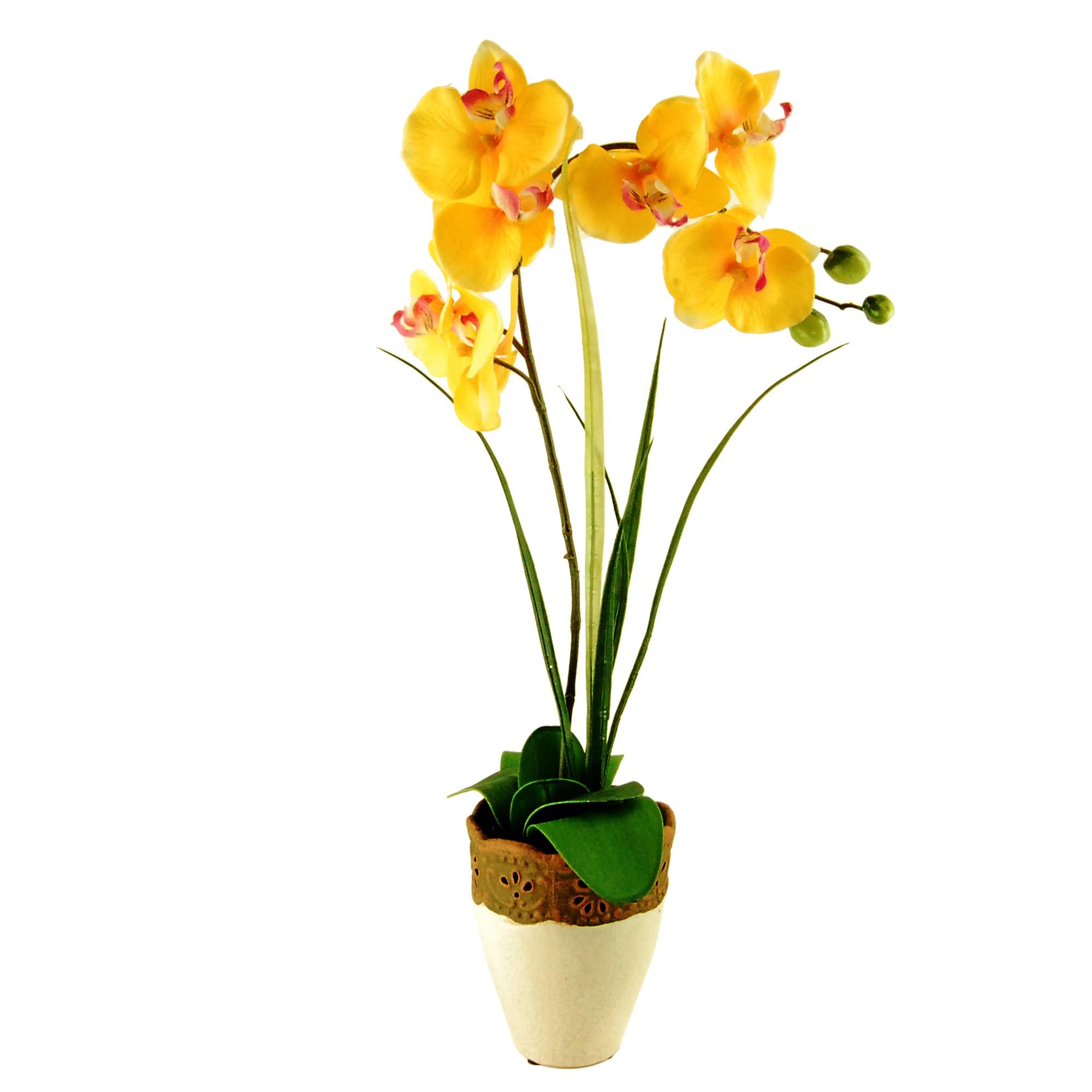 White LCG Florals Orchid Silk Floral Arrangement with Embossed Ceramic Vase