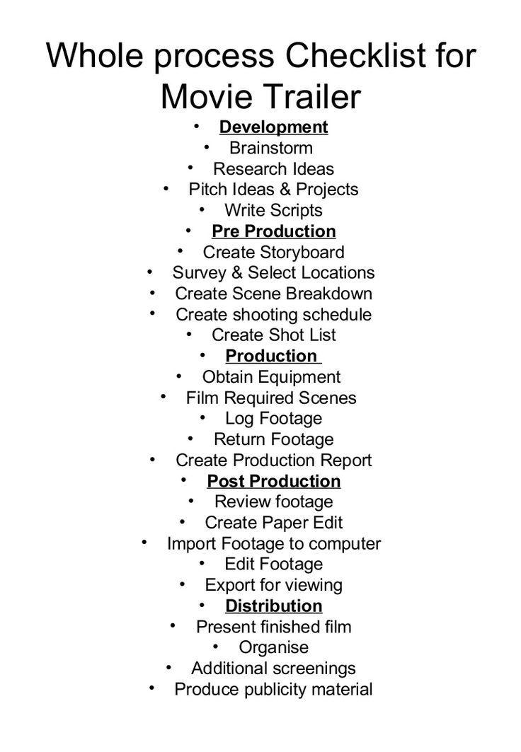 Filmmaking checklist Film technique, Filmmaking