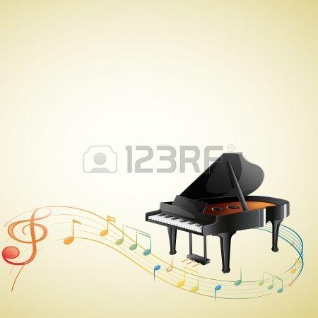 G 음자리표와 흰색 배경에 뮤지컬 메모와 피아노의 그림 로열티 무료 사진, 그림, 이미지 그리고 스톡포토그래피. Image 18287629.
