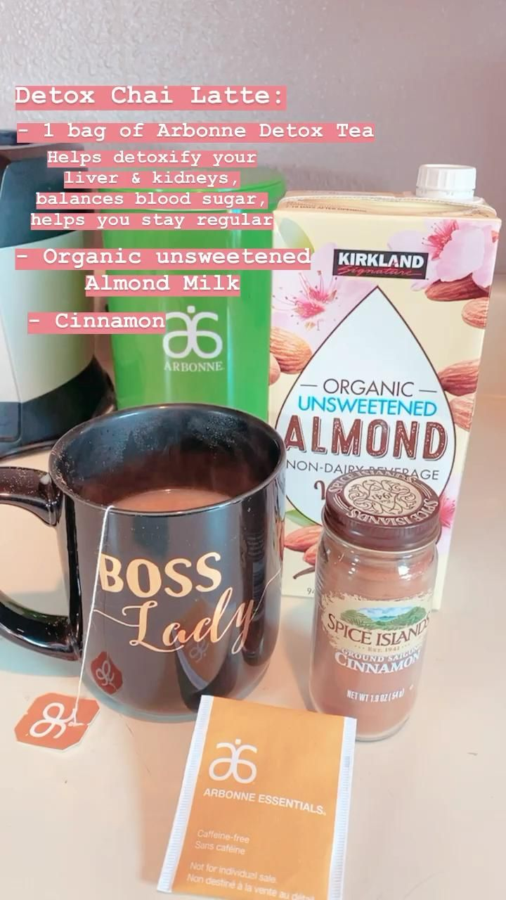 - 1 bag Arbonne Detox Tea (helps detoxify your liver & kidneys, balances blood sugar, and helps you stay regular) - Organic Unsweetened Almond Milk - Cinnamon    #healthy #healthyliving #detoxdrinks #tea #chaitea #healthychai #arbonne #recipe #healthycoffee #yummy