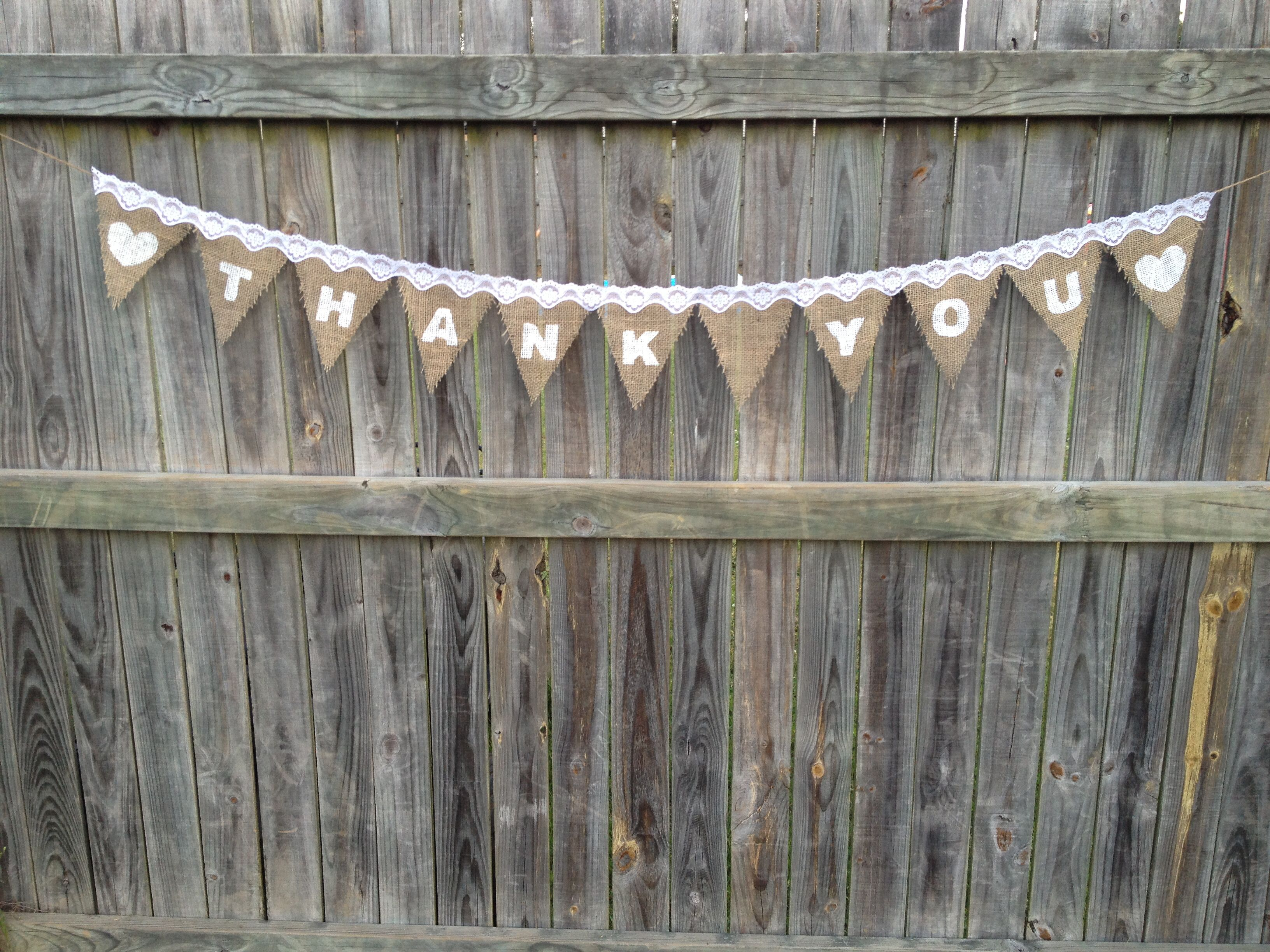 Handmade hessian thank you bunting. Perfect prop for cute unique thank you cards.  $25 each