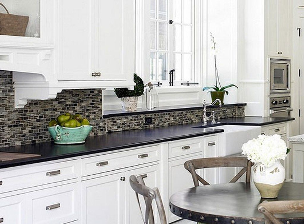 Backsplash for white cabinets and black granite countertops kitchen re do pinterest black - White kitchen dark counters ...