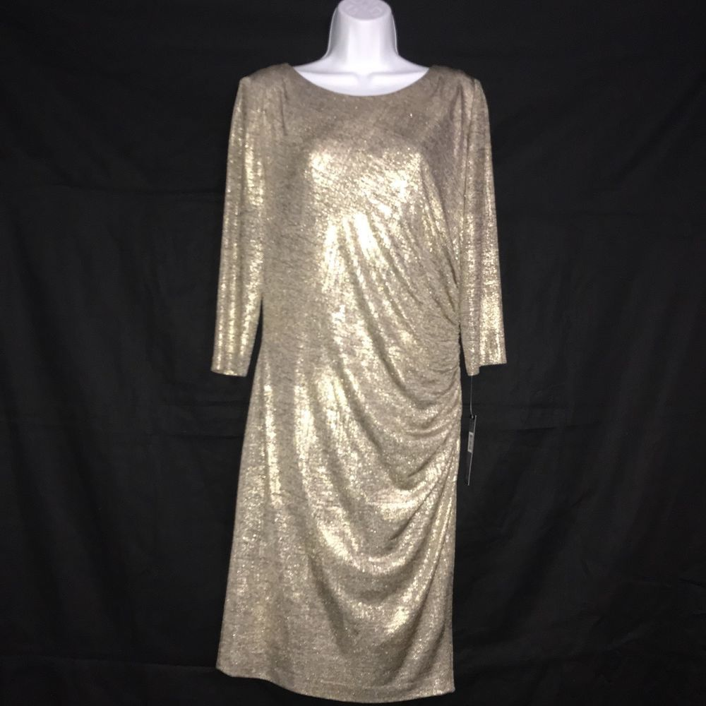 Tahari dress size cocktail party formal wedding gold metallic two