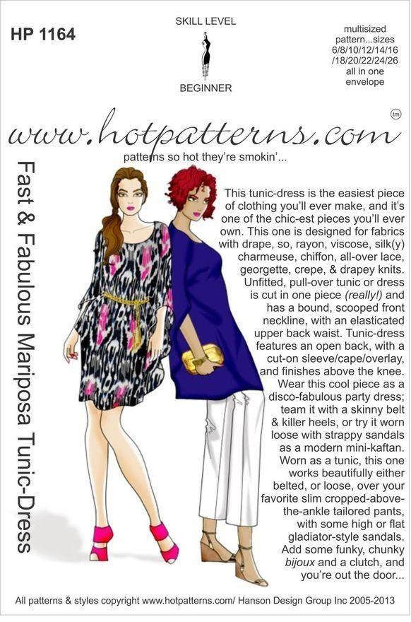 Hot Patterns 1164 - Fast & Fabulous Mariposa Tunic-Dress ...