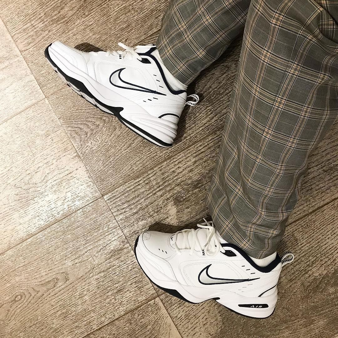 59548bf962d40 Nike Air Monarch Trainers In White 415445-102 in 2019 | ASOS ...