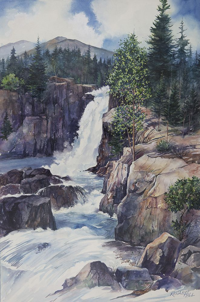 Rocky Mountain Falls Watercolor Painting By Renae Hill