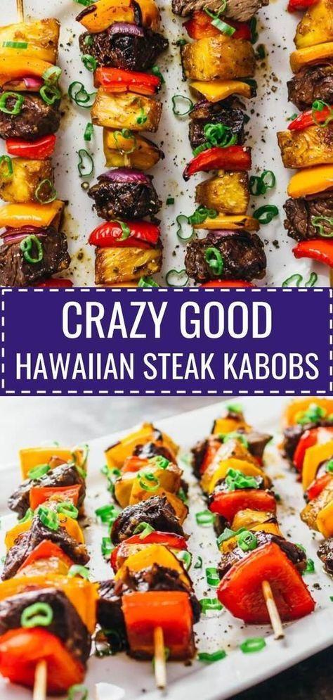 Crazy Good Hawaiian Steak Kabobs - Savory Tooth