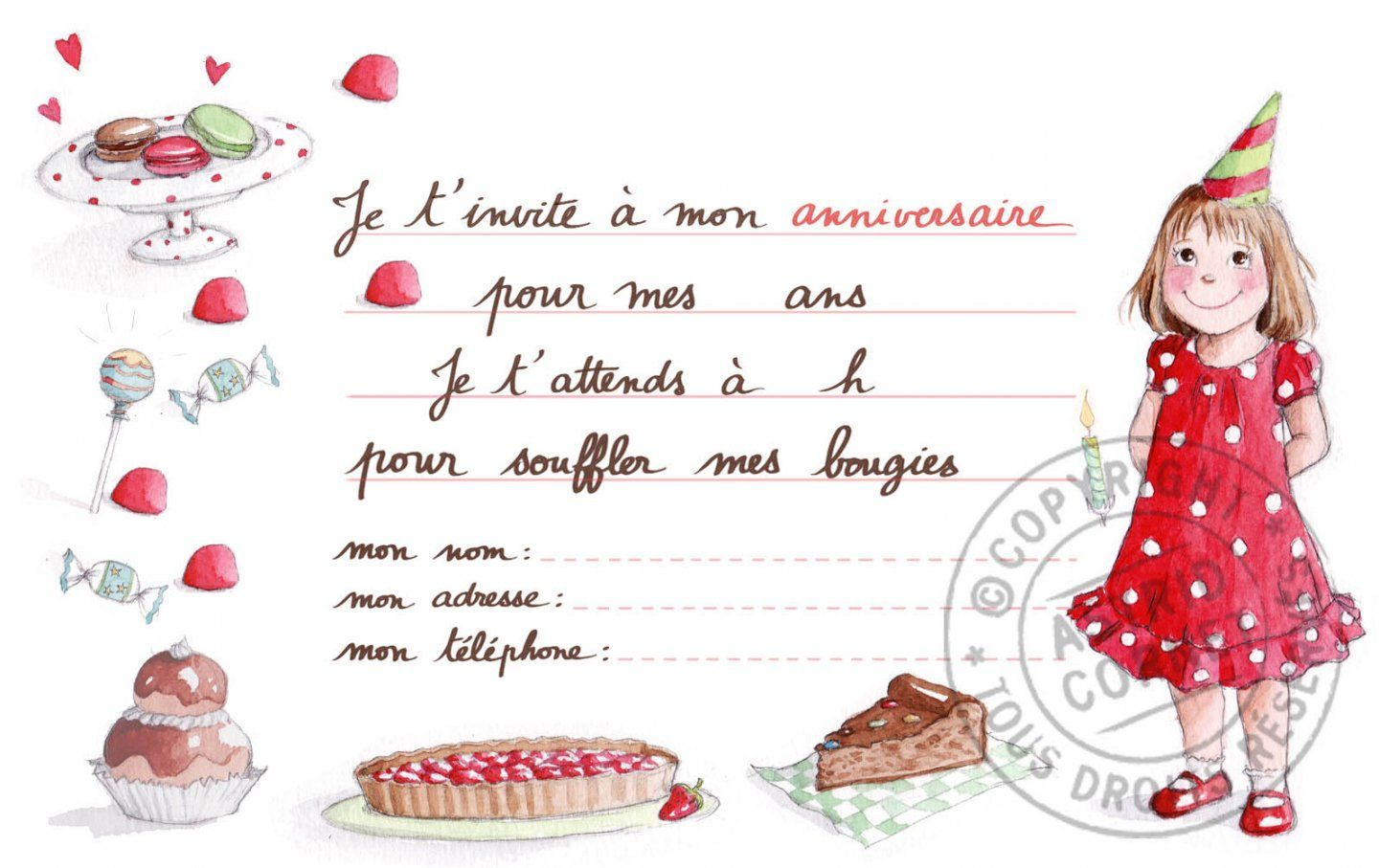 Bien-aimé carte invitation anniversaire fille : Carte d invitation  PY33