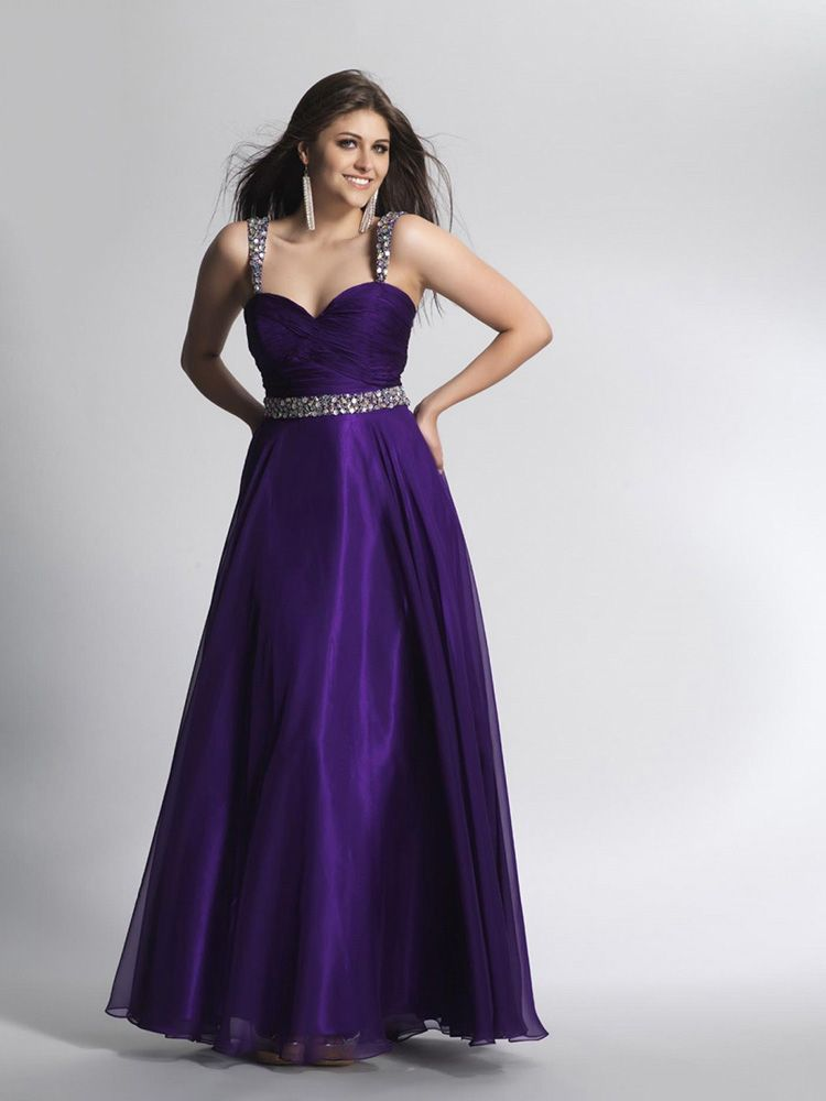 A-line Straps Chiffon Ankle-length Sleeveless Rhinestone Prom ...
