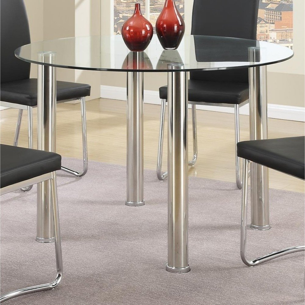 Contemporary Style Metal Table With Round Glass Tabletop