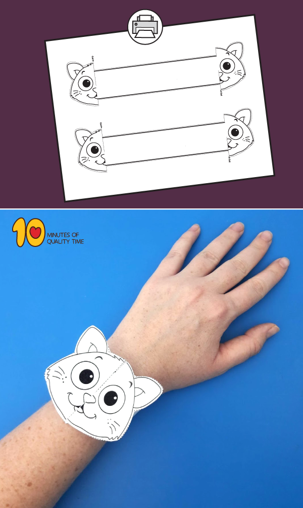 Halloween Cat Printable Bracelet 10 Minutes of Quality