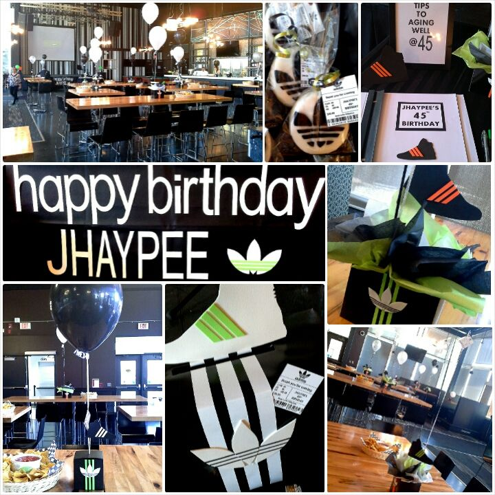 Adidas inspired centerpieces and décor for JP's 45th birthday; design by  Davis Floral Creations
