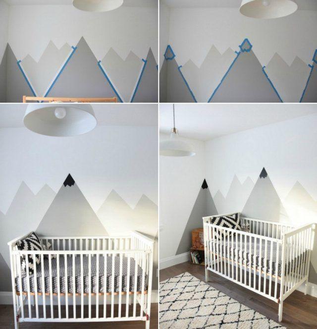 Dessin montagne stylis en couleur pour d corer les murs de la chambre chambres d 39 enfants - Couleur mur chambre bebe ...