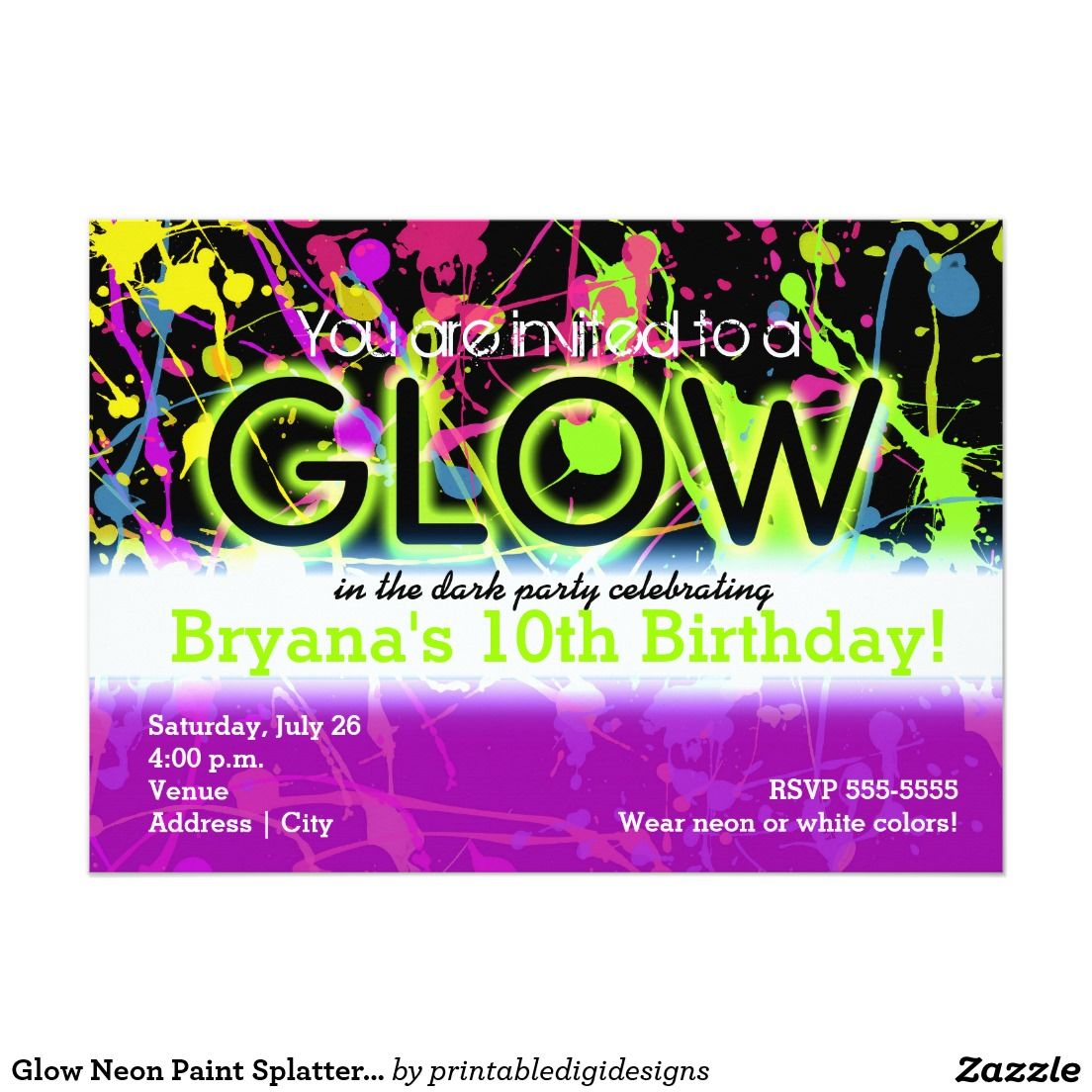 THIS IS THE WINNER! Glow Neon Paint Splatter Birthday Party ...