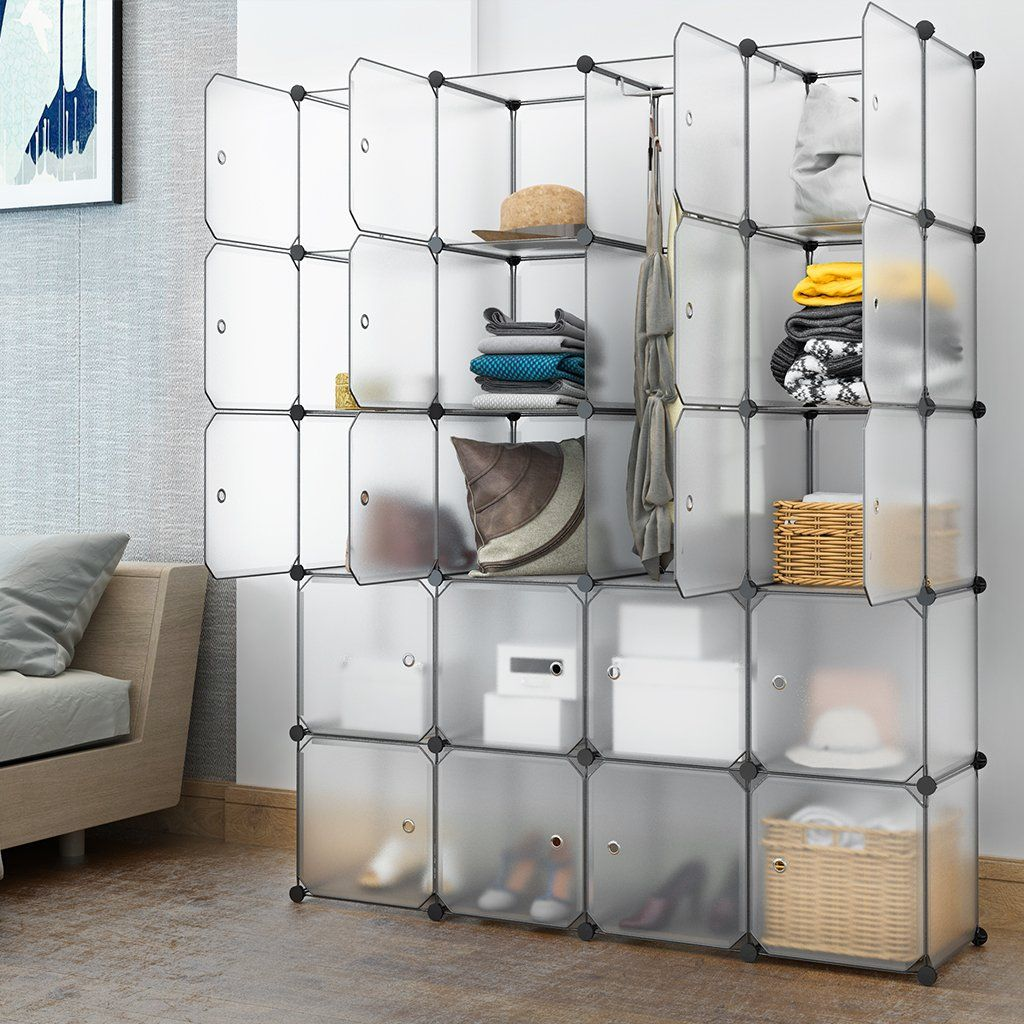 LANGRIA 20 Cubby Shelving Closet System Cube Organizer Plastic Storage Cubes  Drawer Unit, DIY Modular