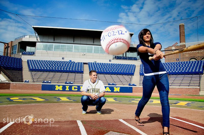 michigan baseball themed save the dates true blue weddings