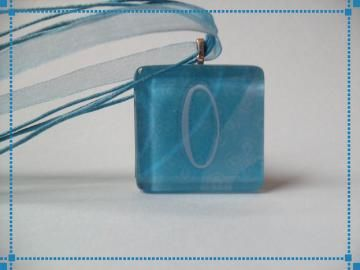 Clearance Turquoise Personalized Intial O Glass Pendant Necklace by SugarandSpiceBoutique for $4.99  #zibbet #jewelry