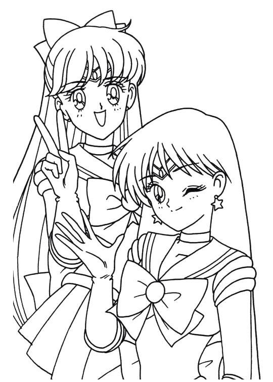 Sailor Moon Series Coloring Pages: Sailor Mars and Sailor Venus ...