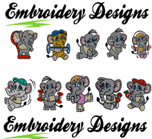 Elephant on diet designs 10 Set - Machine Embroidery Designs