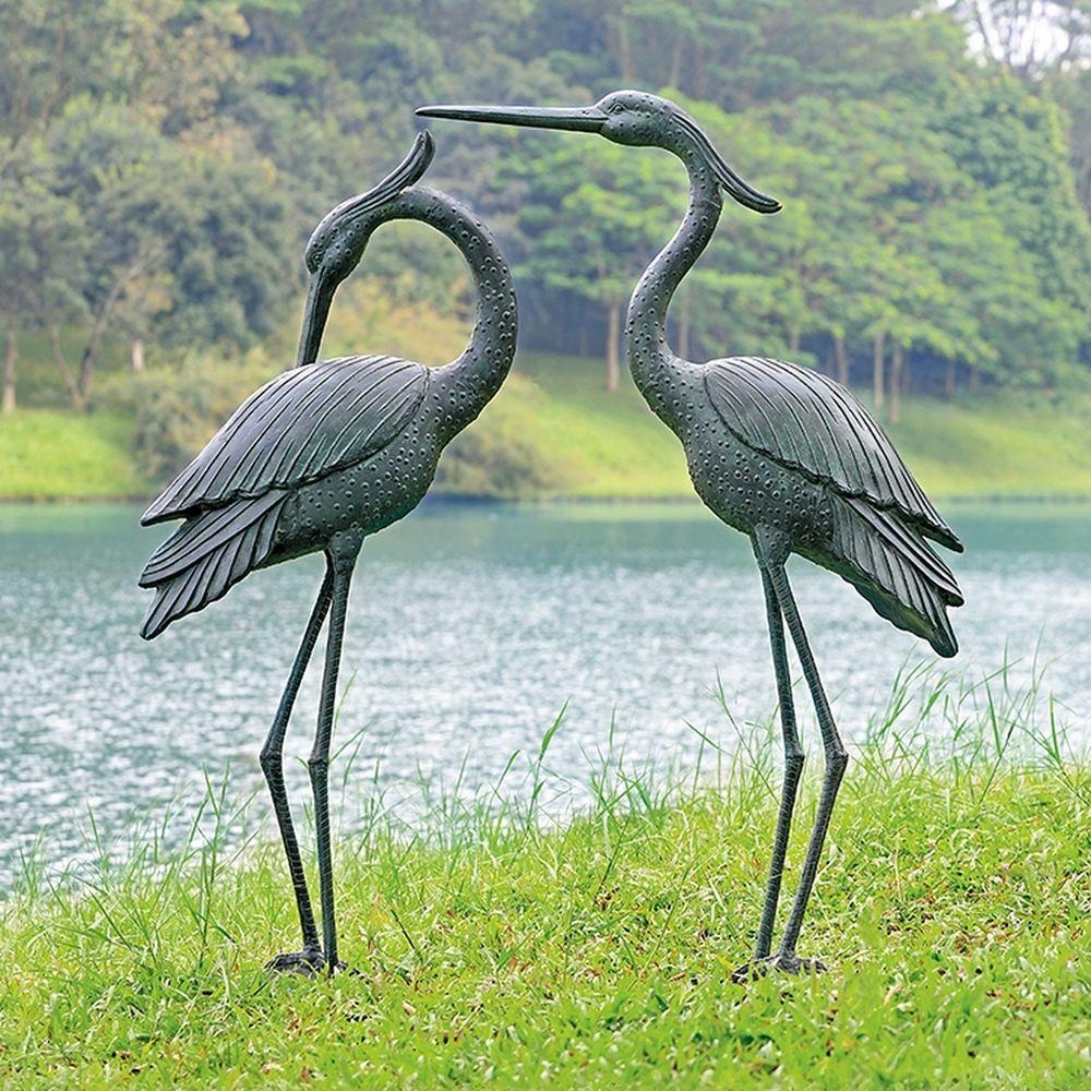 Heron Garden Sculpture Pair Marshland