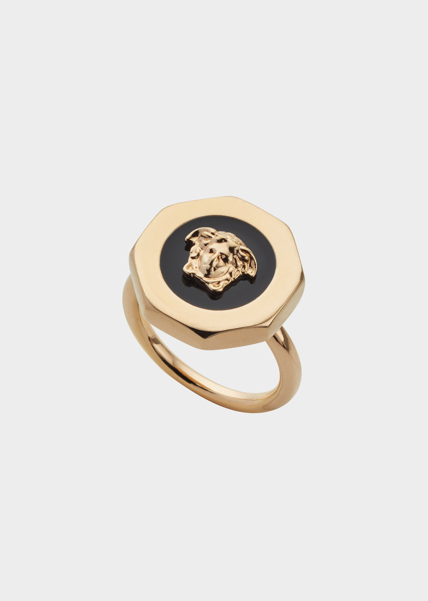 8ebf90cebf Medusa Enamel Bolt Ring from Versace Women's Collection. Gold tone ...