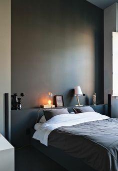 nos astuces en photos pour peindre une pi ce en deux couleurs chambres chambre grise fonc. Black Bedroom Furniture Sets. Home Design Ideas