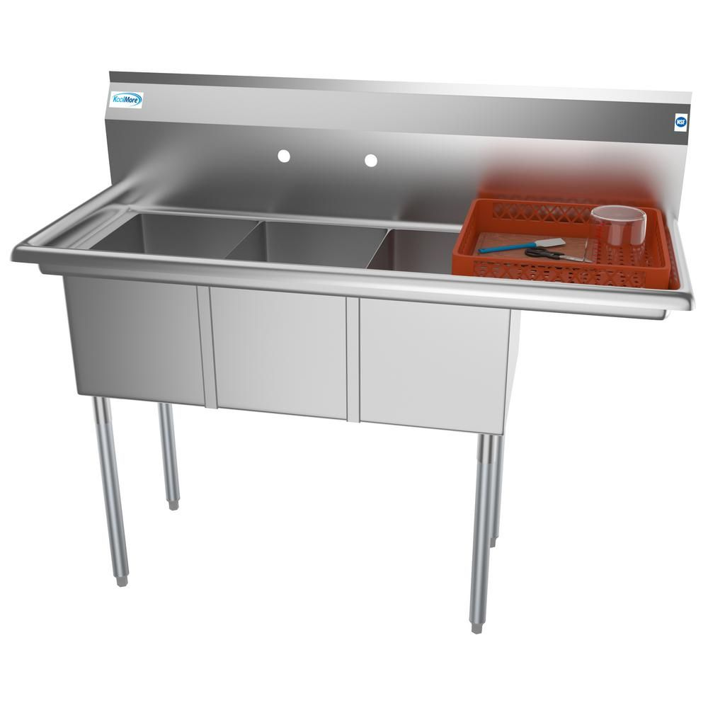 Koolmore Freestanding Stainless Steel 51 In 2 Hole Triple Bowl Commercial Kitchen Sink Right Drainboard Silver Sink Commercial Kitchen Stainless Sink