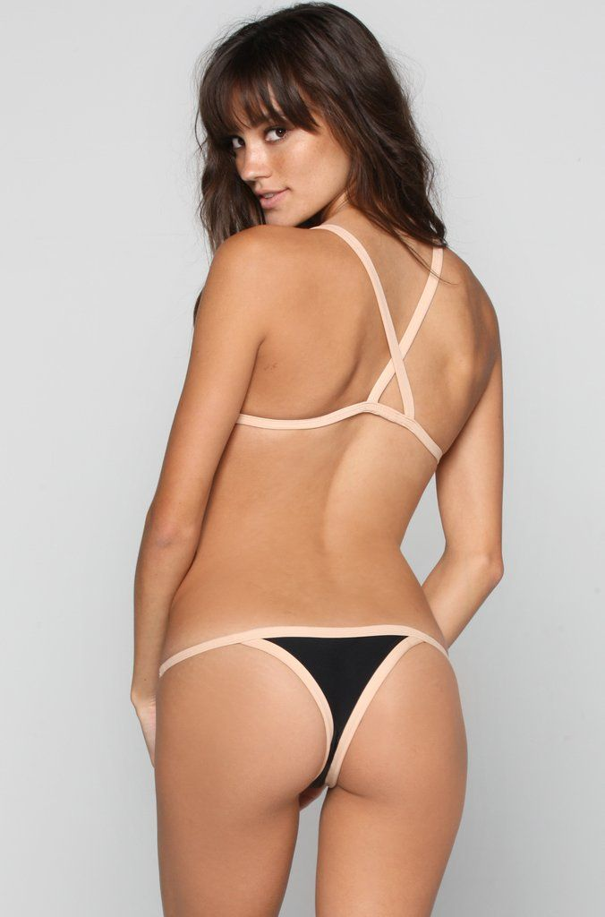 Posh Pua Kainalu Bikini Bottom in Black/Bare|ISHINE365 - 5
