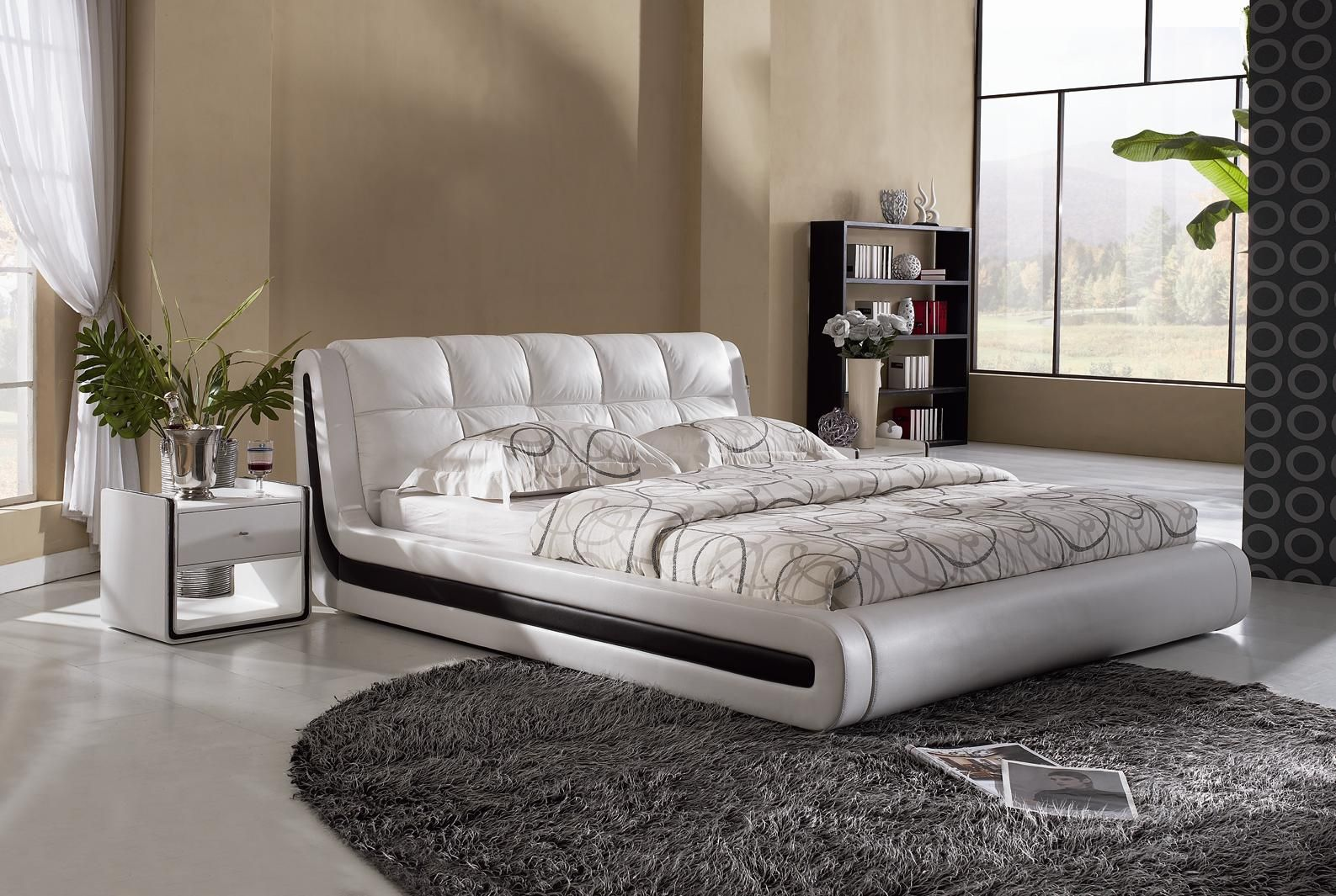 Modern bed designs home interior designer adult bedroom for Bed wallpaper design