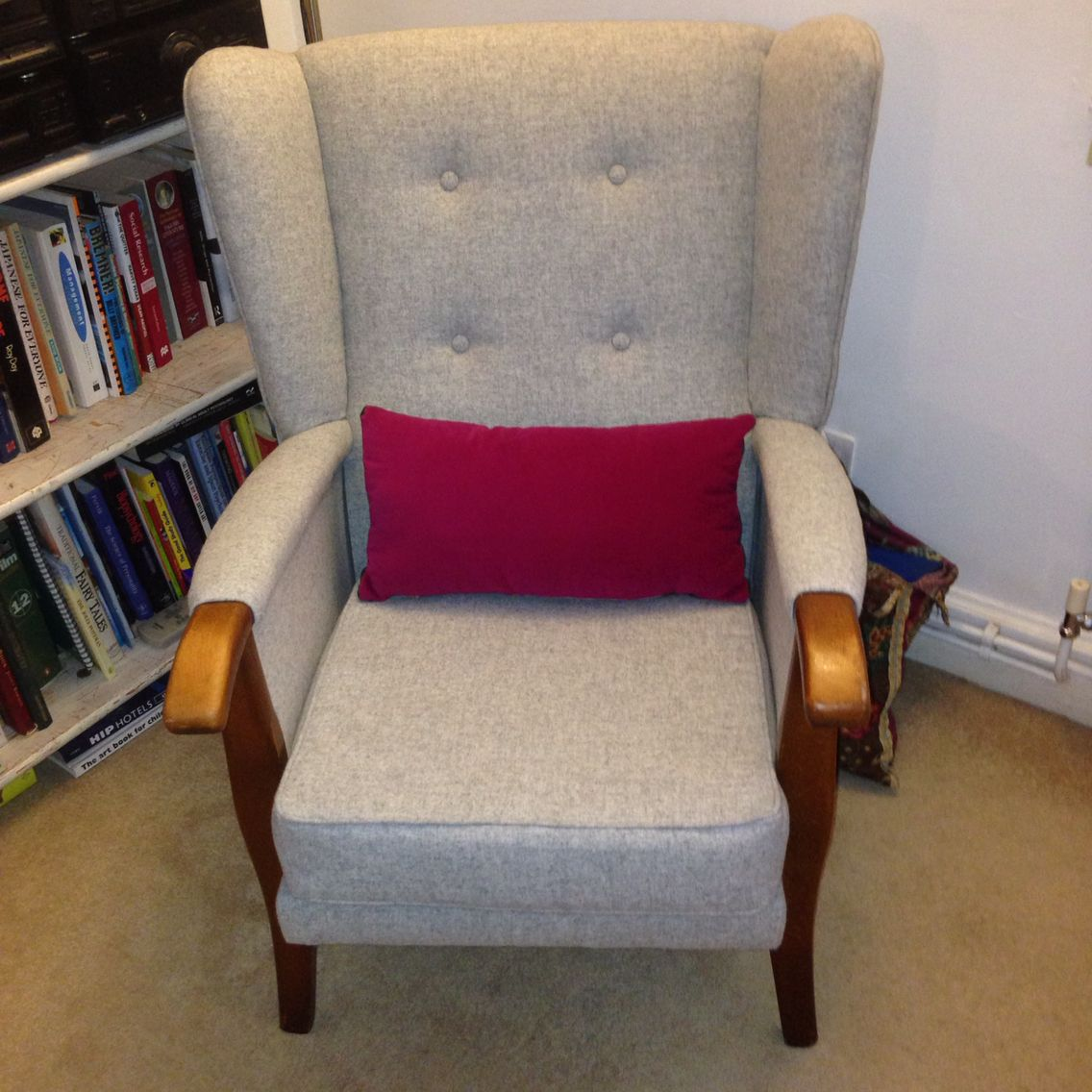 Exceptional Vintage Armchair Recovered In Abraham Moon Light Grey 100% Wool. Available  At Woodenwedge. Amazing Ideas