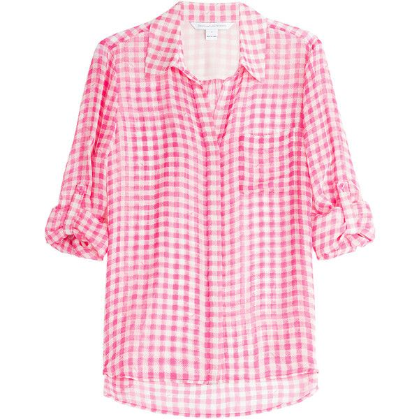 Diane von Furstenberg Lorelei Two Printed Stretch Silk Shirt ( 175) ❤ liked  on Polyvore 257e5b4435b5