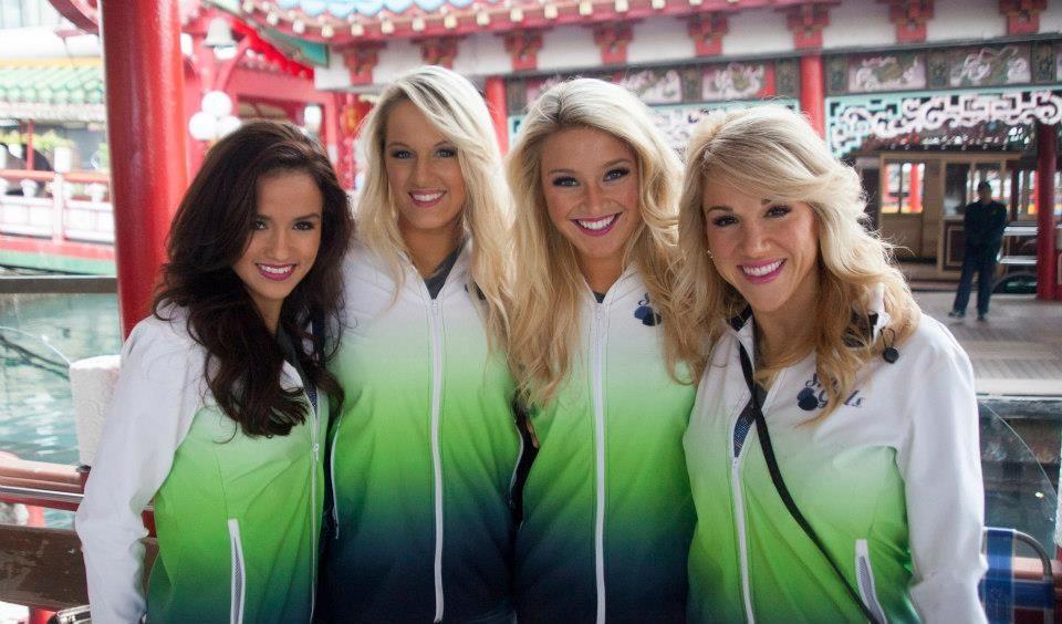 sports shoes cf552 5961c Seattle Seahawks Cheerleaders in Hong Kong sporting their ...